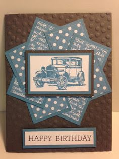Guy Greeting, Masculine Birthday Card, Faux Pinwheel Card Technique, Stampin' Up!, Rubber Stamping, Handmade Cards, Stamping Tutorial