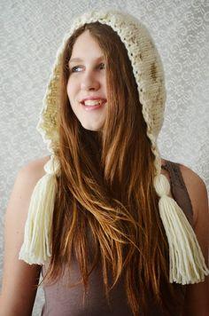 Hand Knit Hat Womens Hat Knit Hood Earflap  Tassel by irinacarmen, $39.00