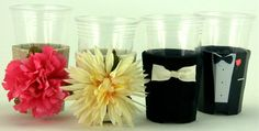 Beverage Insulators Bridal Party Set of 12-1Bride & 1Groom, 5Tuxedos and 5 Silk Flower PocketHuggies -3 SIZES-Cup, Glass Beer Bottle, Can