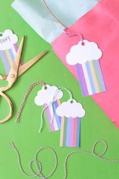 Make these sweet but simple DIY rainbow gift tags out of colored paper, and easily attach to any gift for a lovely pop of color!