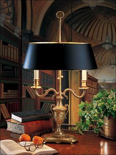 Library lamp blueroomlady:(via ROOMS  VIGNETTES WITH VISION II).  Beautiful lamp...would be fitting for the living room, once sofas are re- upholstered.