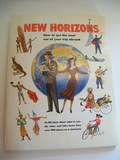 Pan American Airlines New Horizons Travel Info book 1953 photos maps!