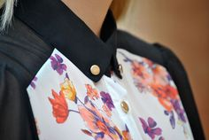 floral and black shirt