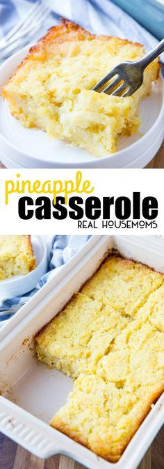 Pineapple Casserole is a delicious side dish and is especially perfect with ham! It is easy to make and is great for the holidays! via @realhousemoms