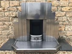 1930s Art Deco Polished Pewter Fireplace