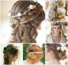 Me encanta este estilo de peinado romantico, con una corona de flores sutiles como accesorio :) Es una alternativa a los tradicionales velos.
