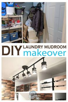 The before and after pics are AWESOME! Check out this laundry room and mudroom makeover. The custom shelving is plywood and an easy build. There's metal backsplash that is magnetic! New lighting! A small laundry sink! And LOTS of storage! Laundry Room Lighting, Laundry Room Wall Decor, Laundry Room Organization, Laundry Room Design, Diy Organization, Organizing, Small Laundry Sink, Laundy Room, Custom Shelving