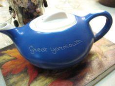 Vintage Blue Tea Pot.  UK.  mojeart at etsy.com
