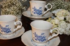 Blue Rose by Gibson cup and saucer sets (3 available), for rent  from southernvintagegeorgia.com