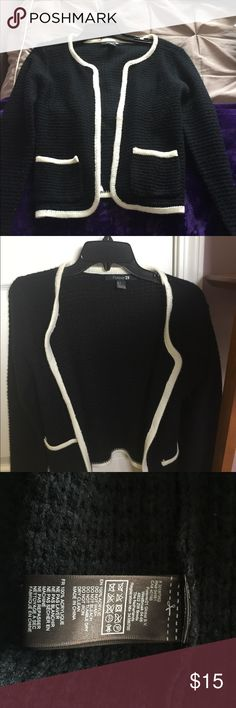 Forever 21 black sweater with white trimming Forever 21 size small black and white sweater. Worn only once before. Forever 21 Sweaters Cardigans