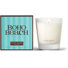 Henri Bendel Boho Beach Signature 9.4 Oz Candle ($30) ❤ liked on Polyvore featuring home, home decor, candles & candleholders, candles, sea home decor, coconut candle, henri bendel, pink home decor and flower candle