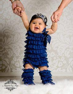 baby Navy Blue Petti lace Romper romper newborn by HappyBOWtique, $21.99