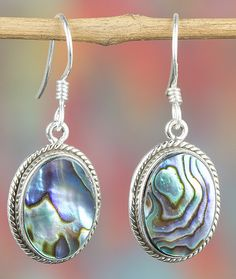 Silver Earrings – Unique Silver Abalone Shell Earring BJE-337-AS-L – a unique product by Midas-Jewelry on DaWanda