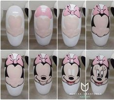 Make an original manicure for Valentine's Day - My Nails Minnie Mouse Nails, Mickey Mouse Nails, Gel Nails, Manicure, Nail Drawing, Nail Art Designs Videos, Animal Nail Art, Nailart, Nail Swag