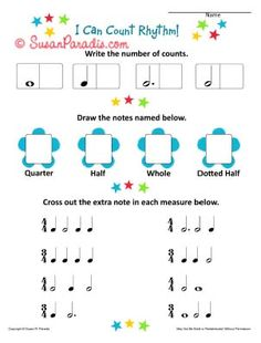 I Can Count Rhythm - a Beginning Worksheet - Susan Paradis Piano Teaching Resources Music Lessons For Kids, Music For Kids, Piano Lessons, Music Theory Worksheets, Kids Piano, Piano Teaching, Music Activities, Music Classroom, Music Teachers