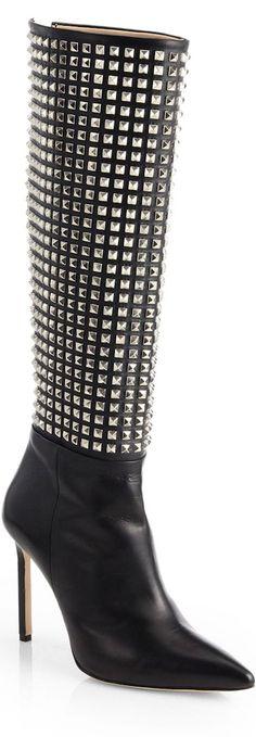 Manolo Blahnik Digastudmod Studded Leather Boots ♥✤   KeepSmiling   BeStayBeautiful