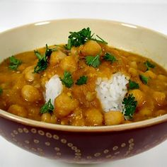 Chickpeas and Barley in Red Lentil and Eggplant Sauce Recipe Main Dishes with barley, onion, eggplant, olive oil spray, tomato paste, red lentils, vegetable broth, fresh mint, salt, garbanzo, ground cumin, red pepper flakes, lemon juice, finely chopped fresh parsley
