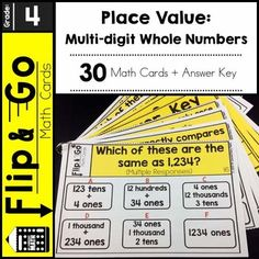 4th Grade Math Place Value - Flip and Go Cards30 math task cards that reinforce 4th grade common core math standards - Place value understanding for multi-digit whole numbers.Do you want a quick and easy way for students to practice and review place value?