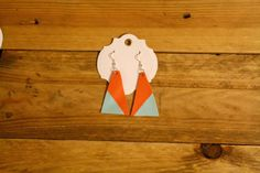 Leather Geometrical Earrings in Orange and light by laborofleather
