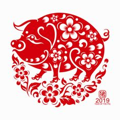 Happy chinese new year 2019 Zodiac sign year of the pig with red paper cut art and craft style on color Background.(Chinese Translation : Year of the pig) - Shutterstock Premier Happy Chinese New Year, Chinese New Year Cookies, Happy Year, 2019 Chinese Zodiac, Chinese Zodiac Signs, Pig Images, Chinese Paper Cutting, New Year Illustration, Pig Crafts