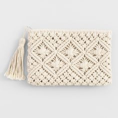 Cost Plus World Market Ivory Macrame PouchThis unique pouch features textured, intricate macrame.Pretty leather and macrame purse.Boho Bags, Hats, and Hair AccessoriesA sweet summer staple, our Carly dress features intricate crochet patterns and tass Diy Macrame Wall Hanging, Macrame Art, Macrame Projects, Macrame Mirror, Macrame Curtain, Crochet Clutch, Crochet Purses, Crochet Yarn, Crochet Wallet