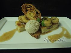 Croissant Bread Pudding, bananas foster sauce, toasted cinnamon ice cream (Public House, Venetian, Las Vegas)