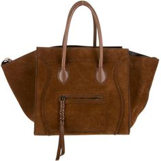 Céline Suede Phantom Tote (5.295 BRL) ❤ liked on Polyvore featuring bags, handbags, tote bags, purses, brown handbags, brown tote, brown suede tote bag, tote handbags and handbags totes