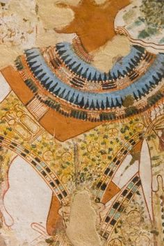UNESCO World Heritage, Thebes in Egypt, Valley of the Nobles, tomb of Userhat (number 51, as there are other tomb owners called Userhat). Detail of a costume : Bracelet, collar and a panther skin.