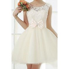 Stylish Scoop Neck Lace Crochet Flower Bowknot Embellished Sleeveless Women's Dress