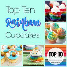 Our Good Life Top Ten Rainbow Cupcakes Best Dessert Recipes, Cupcake Recipes, Sweet Recipes, Desserts, Rainbow Cupcakes, Rainbow Food, Rainbow Sweets, Watermelon Pie, Watermelon Recipes