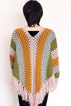Women Poncho Pattern Striped Poncho Crochet Sleeved Poncho