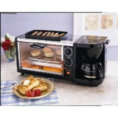 Great idea for a small camper! 3-in-1 Breakfast Set Coffee Maker /Oven Toaster/ Grill Plate