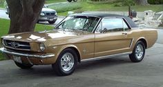 64.5 Mustang Coupe.  This was my first car, sold to me as a 65' model.  It was the first Mustang sold in Barstow, CA and had the 260 V-8 option with A/C and 3 speed automatic.  It was this color minus the vinyl roof.