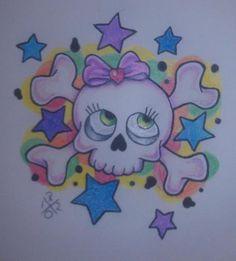Girly Skull Tattoo Flash | girly skull