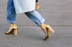 topshop:  We're walking on sunshine in these golden heels.
