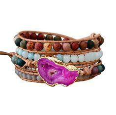 e5c2792ecc982 New Bracelets for Women Natural Stones Drusy Charm Multilayers Leather  Bracelets Unique Boho Bracelets Dropshipping Layered