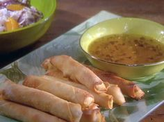 Chicken-Green Chili Straws with Jalapeno-Honey Dip recipe from Robin Miller via Food Network