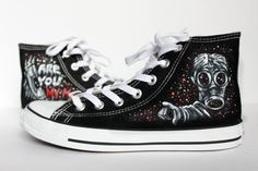 The Empty Child Doctor Who Converse shoes Black by LRsWorkshop