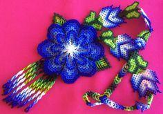 Huichol blue flower necklace by Aramara on Etsy (www.etsy.com/uk/people/Aramara)