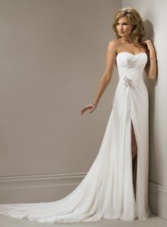 Charming Sleeveless A-line Floor-length wedding dress $305.00.. perfect to show off your cowboy boots at a country wedding:)