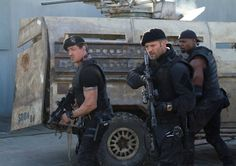 Sylvester Stallone, Jason Statham, and Terry Crews in The Expendables 2 (2012)