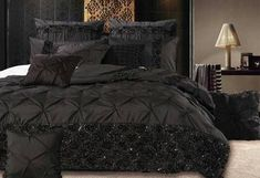 With sharp pintuck & sequins embroidery, the Samania Black quilt cover set is the ultimate in bedroom impression King Size Quilt Covers, Quilt Cover Sets, Luxury Duvet Covers, Luxury Bedding, Black Duvet Cover, Queen Size Quilt, Black Bedding, Cozy Bed, Black Quilt