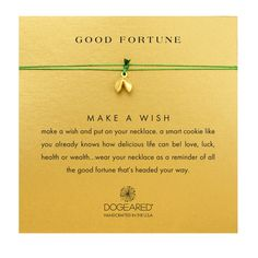 Good Fortune Cookie Necklace on Emerald Silk, Gold Dipped | Dogeared