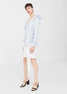 Striped ruffle blouse | MANGO