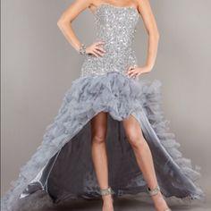 Jovani Silver/Grey High-Low Dress