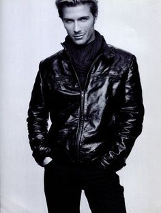 Tobias Cameroon as Christian Grey ...in the infamous black tee, black jacket and black jeans...