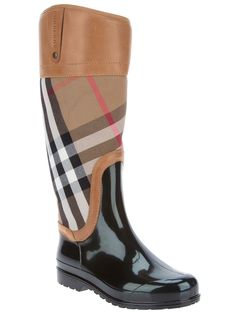 Burberry Checked Midcalf Boot in Black