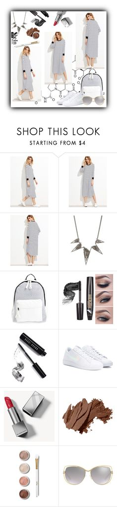 """white tee dress by shein"" by diva-calista ❤ liked on Polyvore featuring Alexis Bittar, Poverty Flats, Bobbi Brown Cosmetics, NIKE, Burberry, Terre Mère and Michael Kors"