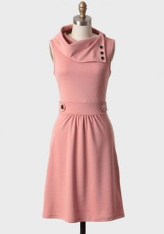salmon colored dress with asymmetric collar. It speaks to my Mad Men obsession. Modern Vintage Dress, Vintage Mode, Vintage Inspired Dresses, Vintage Dresses, Vintage Outfits, Vintage Clothing, Modern Fashion, Cute Fashion, Luxury Fashion