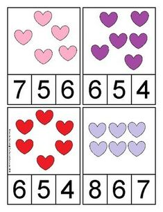 Valentine's Day Counting and Cardinality Centers for Kindergarten Valentine Theme, Saint Valentine, Valentine Day Love, Valentine Day Crafts, Valentine's Day Crafts For Kids, Valentines Day Activities, Kindergarten Counting, Preschool Activities, Unicorn Costume